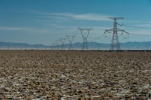 High-voltage towers, Gobi Desert