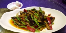 Sauteed eggplant, peppers, and green beans
