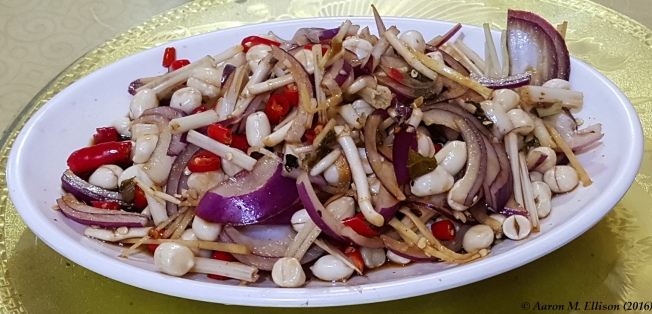 Marinated peanut and onion salad