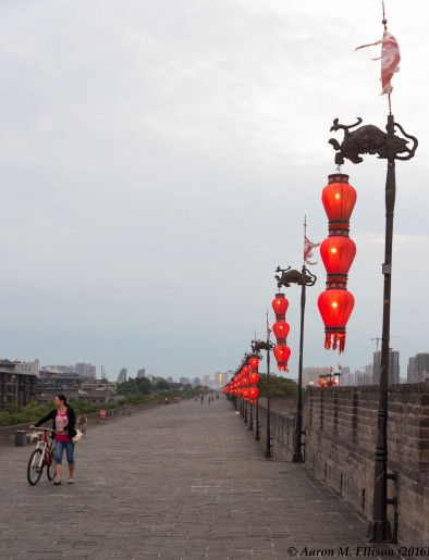 Biking atop the city wall, Xi'an