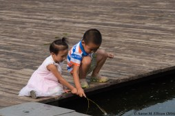 Fishing for frogs, Olympic Park, Beijing